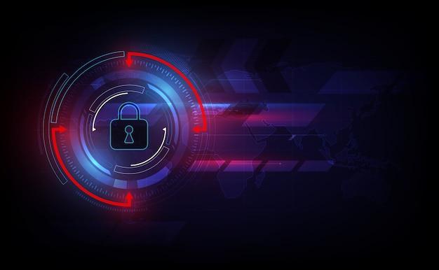 Sicurezza astratta della tecnologia sul fondo della rete globale.