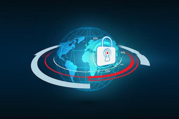 Sicurezza astratta della tecnologia sulla rete globale
