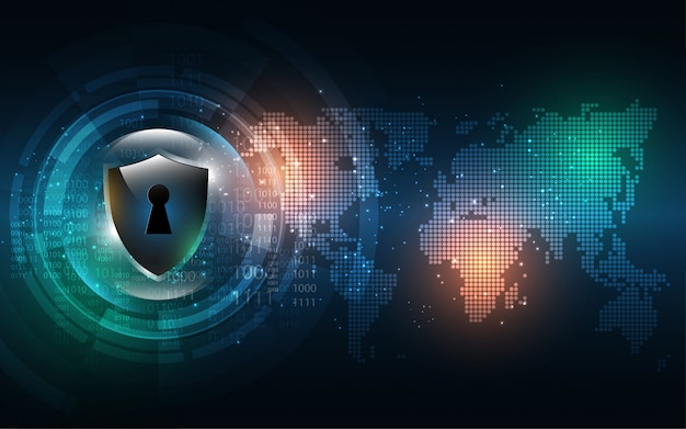 Sicurezza cyber tecnologia digitale sullo sfondo