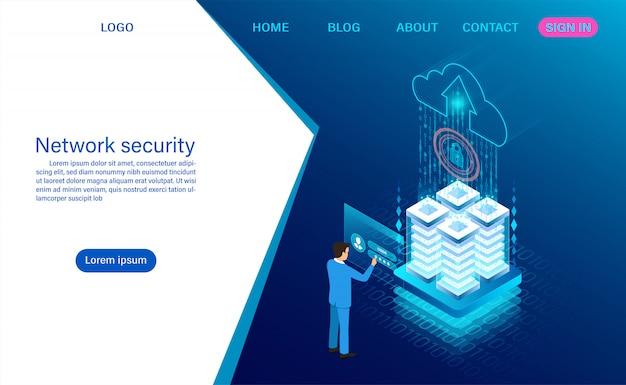 Sicurezza dei dati di rete. protezione del trattamento dei dati. informazione digitale. isometrica piatta