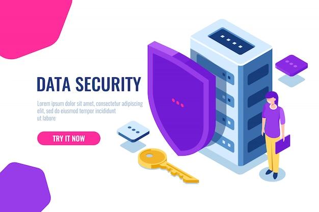 Sicurezza dei dati isometrica, icona del database con scudo e chiave, blocco dati, supporto personale di sicurezza