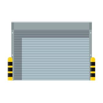Sicurezza della porta di metallo dell'icona dell'otturatore a rulli. edificio industriale esterno della facciata del cancello del garage. fabbrica di porte in alluminio