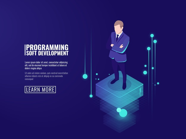 Sicurezza delle informazioni, un uomo in giacca e cravatta, un flusso di dati