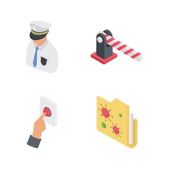 Sicurezza e sicurezza icone impostate