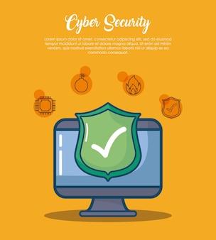Sicurezza informatica con computer con segno di spunta su uno scudo su sfondo arancione