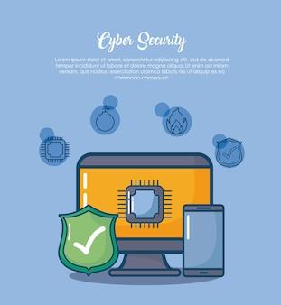 Sicurezza informatica con computer e icone correlate su sfondo blu
