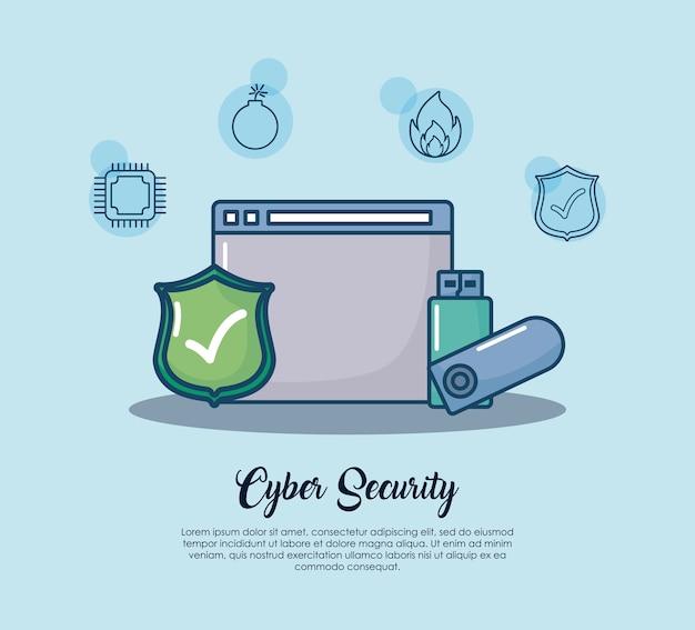 Sicurezza informatica con interfaccia web e icona usb su sfondo blu