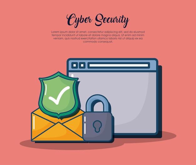 Sicurezza informatica con interfaccia web e relative icone su sfondo rosso