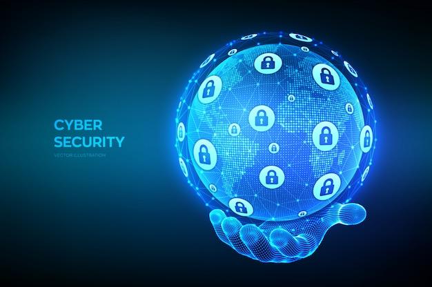 Sicurezza informatica. concetto di protezione delle informazioni e sicurezza del sicuro. composizione del punto e della linea della mappa del mondo. globo terrestre in mano.