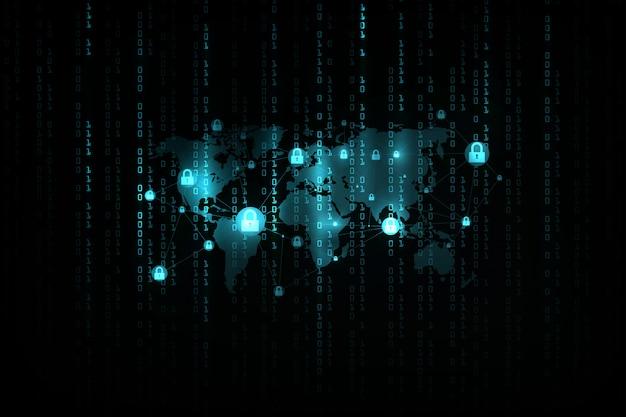 Sicurezza informatica e informazioni o sfondo di protezione della rete