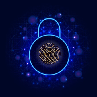 Sicurezza informatica protezione dati digitali, lucchetto e scanner biometrico di impronte digitali ad accesso sicuro