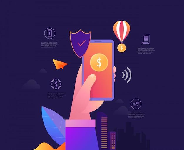 Sicurezza mobile dei dati isometrica, concetto di sistema di protezione dei pagamenti online con smartphone e carta di credito,