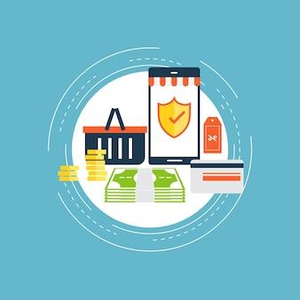 Sicuro disegno di illustrazione piatta dello shopping online