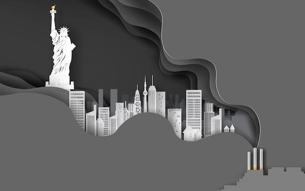 Sigaretta con paesaggio urbano