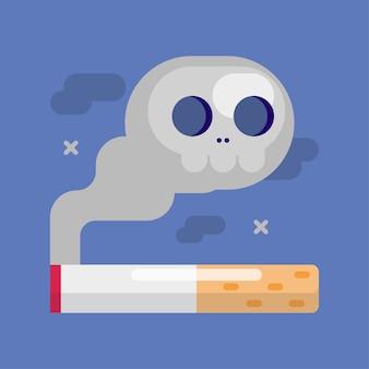 Sigaretta con un teschio di fumo
