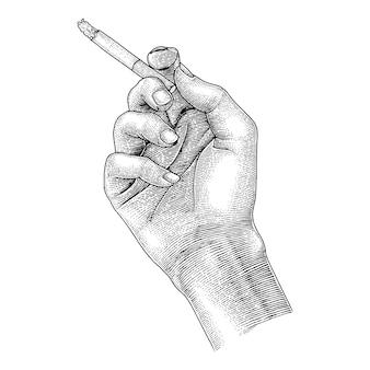 Sigaretta della tenuta della mano, fumo che disegna stile d'annata