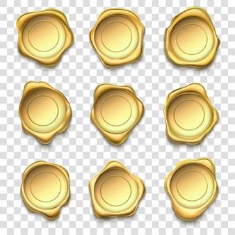 Sigillo d'oro. sigilli di cera oro elite, francobolli premium e set di illustrazione timbro busta posta affidabilità