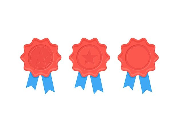 Sigillo di cera certificato. illustrazione. design piatto.