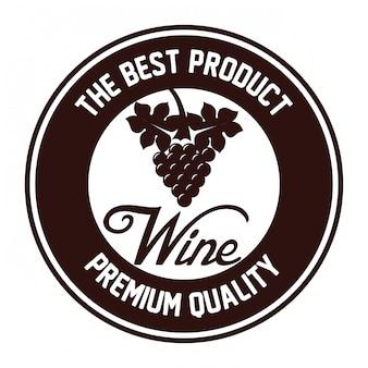 Sigillo di disegno dell'icona isolato vino di qualità
