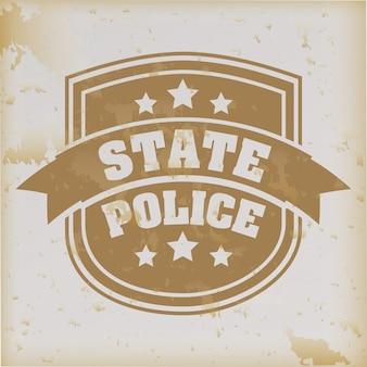 Sigillo di polizia di stato su sfondo d'epoca