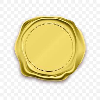 Sigillo in cera con timbro dorato sigillo retro etichetta