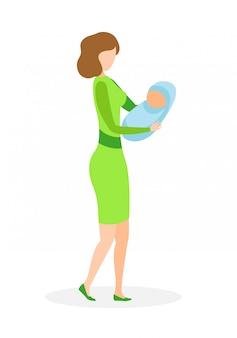 Signora adulta con l'illustrazione piana piana di vettore