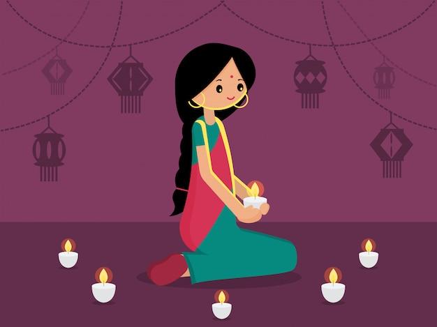 Signora indiana con luce a sospensione decorata per happy diwali. illustrazione vettoriale piatto moderno festival di luce di sfondo india.