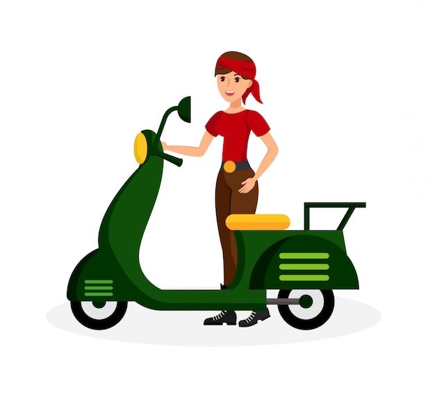Signora sorridente con l'illustrazione di colore piatto del motorino