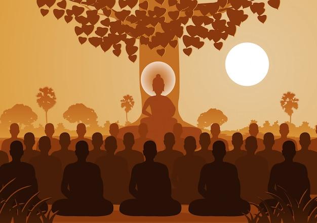 Signore del buddha che media con la folla di monaci
