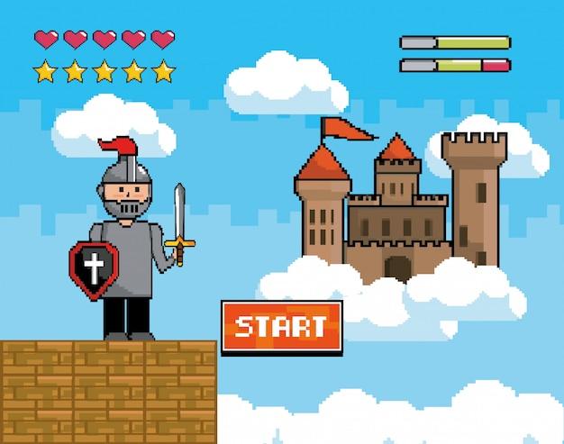 Signore ragazzo con scudo e spada con castello e sbarre di salvataggio