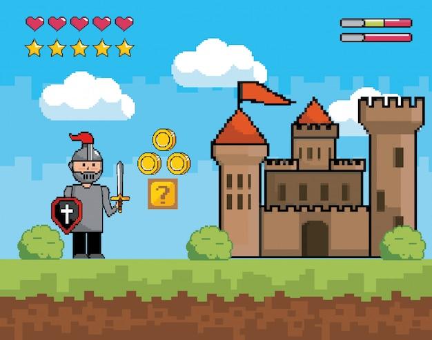 Signore ragazzo con scudo e spada con castello
