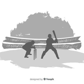 Sihouette del giocatore di cricket