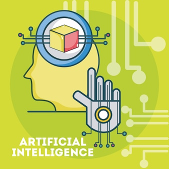 Sihouette testa di intelligenza artificiale