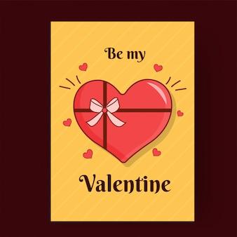 Sii il mio biglietto di auguri di san valentino design con illustrazione a forma di cuore