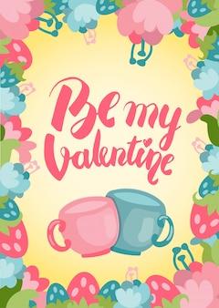 Sii la mia bella cartolina di san valentino con scritte a mano