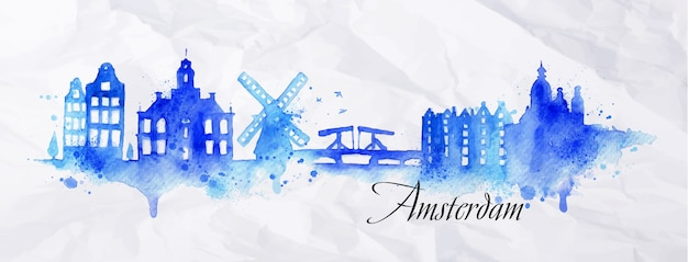Silhouette città di amsterdam