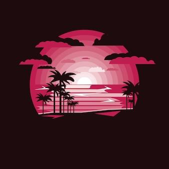 Silhouette clum palm sul paesaggio di mare.