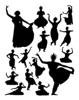 Silhouette del ballerino indiano