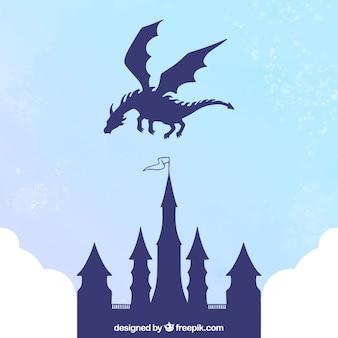 Silhouette del castello e drago volante