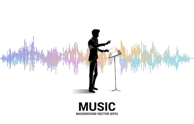Silhouette del direttore d'orchestra in piedi con l'onda sonora sullo sfondo dell'equalizzatore di musica. priorità bassa di concetto per il concerto e la ricreazione di musica classica.