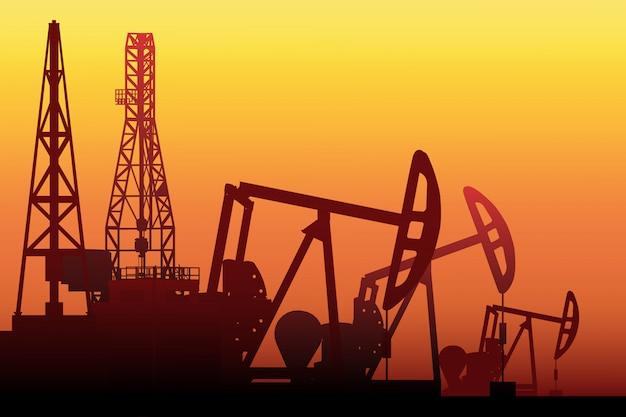 Silhouette della pompa dell'olio, pumpjack sul campo, trap rig.