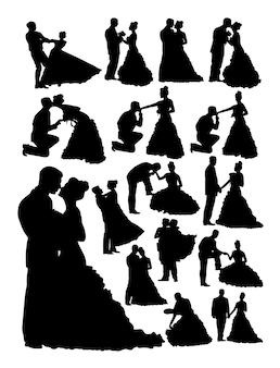 Silhouette della sposa e dello sposo