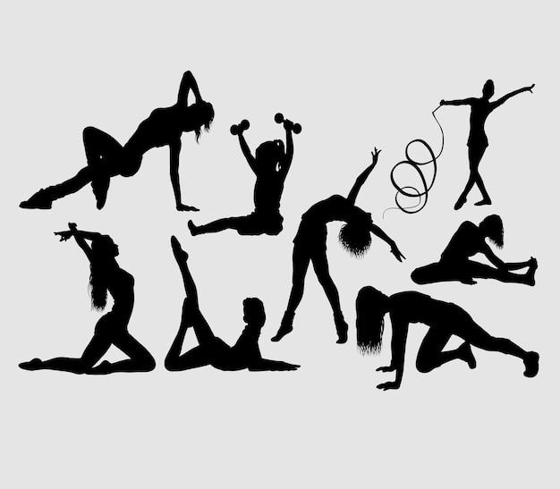 Silhouette di attività sportiva ginnastica