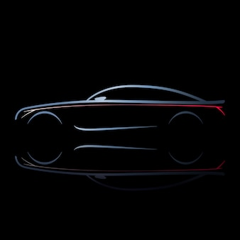 Silhouette di auto con luci accese.
