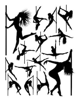 Silhouette di ballerino bellissimo palo