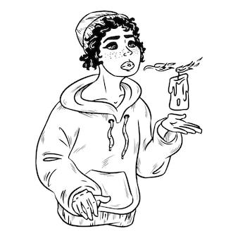 Silhouette di bella giovane strega con candela. illustrazione vettoriale