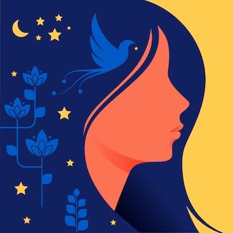 Silhouette di donna con i capelli scuri nel profilo.
