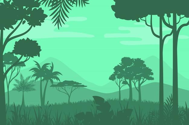 Silhouette di foresta sullo sfondo
