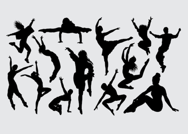 Silhouette di gesto maschile e femminile di danza moderna
