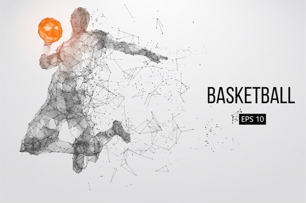 Silhouette di un giocatore di basket. illustrazione vettoriale